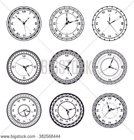 Ancient Watch Face. Vintage Antique Watches, Antic 12 Hours Round Clock, Roman Numerals Timer Clock