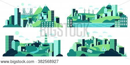 Village Landscape. Minimalist Town Views, City House District, Daytime Landscape With Buildings, Tre