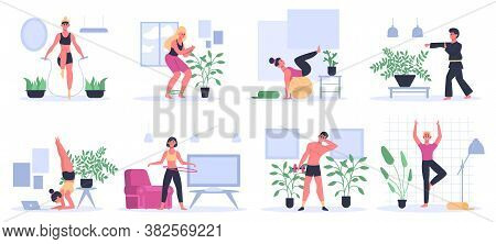 Fitness At Home. People Exercising, Practice Yoga, Man Workout With Dumbbell, Athletic Women Home Wo