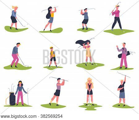 Golf Players. People Playing Golf, Golfers Striking Ball, Outside Summer Activity, Golf Characters V