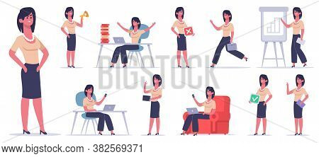 Female Office Character. Businesswoman Finance Worker, Professional Business Employee, Success Femal