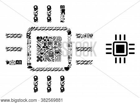 Mosaic Processor Of Medicine Items And Basic Icon. Mosaic Vector Processor Is Formed With Medicine I
