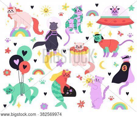 Funny Cartoon Cats. Kitty Mermaid, Unicorn, Superhero, Astronaut And Alien Characters, Colorful Cute