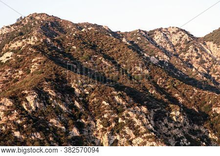 Rugged Mountain Ridge Covered With Rocks And Chaparral Shrubs During Sunset Taken In The Arid San Ga