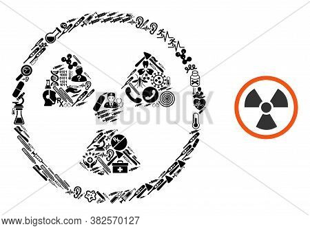 Mosaic Radiation Danger From Health Care Icons And Basic Icon. Mosaic Vector Radiation Danger Is Com