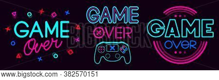 Game Over Signs. Computer Video Game Death Screen Phrases, Last Life Video Gaming Glitch, Video Game