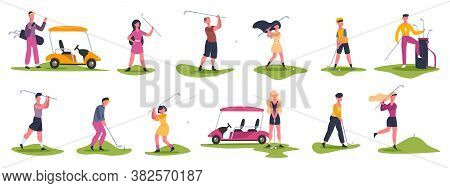Golf People Scenes. Male And Female Golfers, Golf Characters Chase And Hit Ball, Golfers Playing Out