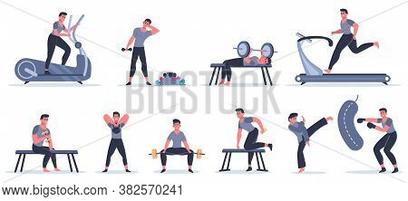 Men At Sport Gym. Male Fitness Character Run, Pull Up, Work With Punching Bag, Sport Character Exerc
