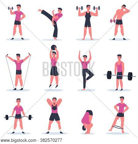 Sport Guy. Young Man Exercising, Male Character Barbell Gym Training, Practice Martial Arts And Cros