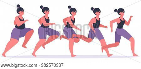 Girl Losing Weight. Running Woman In Process Of Weight Loss, Female Character Jogging And Get In Sha