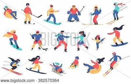 Winter Snow Activities. Skiing, Snowboarding, Hockey And Ice Skates, Family Holiday Winter Activitie