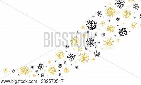 Curved Snowflakes Ornament. Decorative Winter Snowflake Wave, Snow Stars Glitter Trail, Snowflake Bu