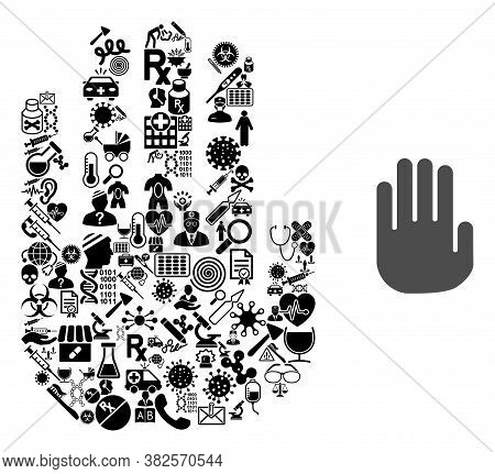 Mosaic Stop Hand Of Health Icons And Basic Icon. Mosaic Vector Stop Hand Is Composed With Health Car