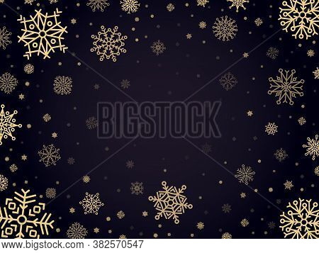 Snow Frost Backdrop. Snowflakes Winter Frame, Xmas Holiday Snowed Frost Border, Cold Silver Snowflak