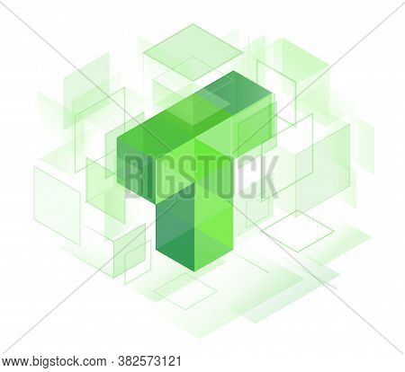 T Letter Logo Symbol. Cubes Lined Up In Space. Constructive From Cubic Forms, Structure Of Connected