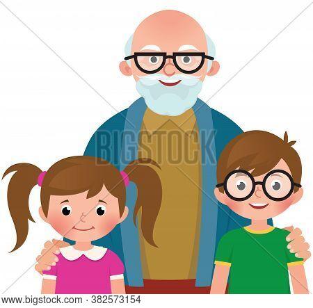 Grandfather Hugs Her Grandchildren Vector Cartoon Illustration