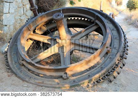 Historical Railroad Equipment That Powered A Vintage Street Rail Car Up A Mountain Taken At An Aband