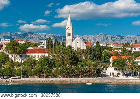 View A Small Town Sumartin On The Island Of Brac, Sunny Day. Croatia.
