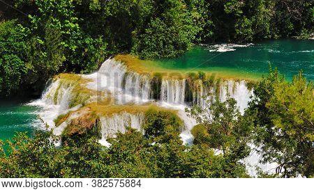 Beautiful Cascade Waterfall In Krka National Park. Croatia.