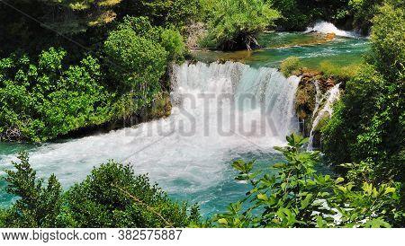 Beautiful Waterfall In Krka National Park. Croatia.
