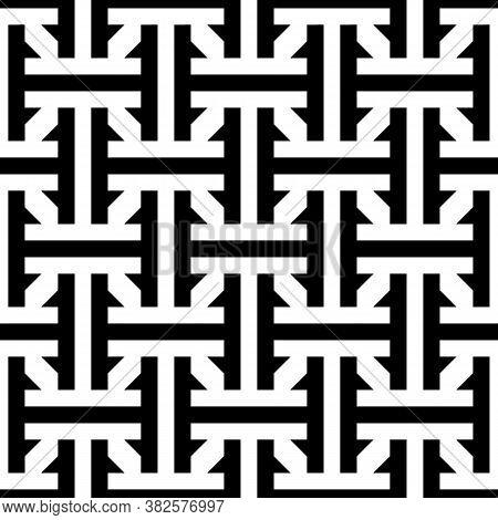 Seamless Chinese Sayagata Pattern. Repeated Interlocking Figures Background. China Ornament. Traditi