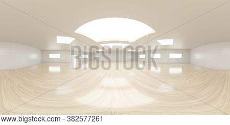 Empty Room With White Walls And Wooden Floor Interior 3d Rendering Illustration 360 Equirectangular