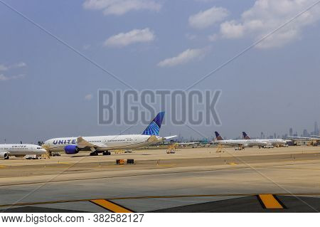 Newark, Nj -25 August 2020 A Fleet Of United Airlines Planes Being Serviced On The Tarmac Of United