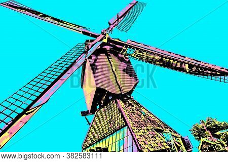 Windmill Blades At Kinderdijk. Situated In A Polder With The Largest Concentration Of Old Windmills