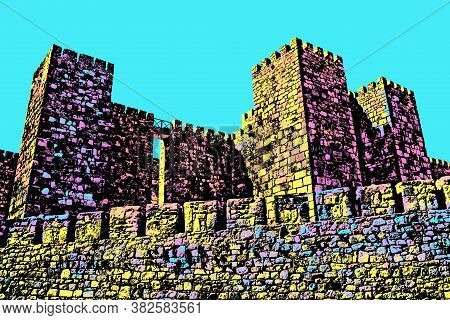 Towers And Stone Walls Facade With Merlons At The Castle Of Trujillo. A Cute Small Medieval Town In