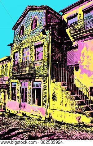 Old Houses With Worn Facade And Staircase In Belmonte. The Birthplace Of The Navigator Pedro Alvares
