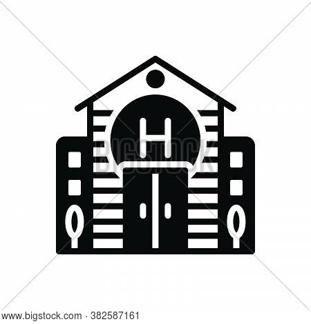 Black Solid Icon For Hotel Lodge Remain Outstay Apartment Architecture Building Estate Exterior