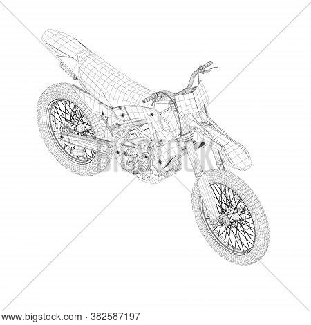 Wireframe Of A Sports Motorcycle From Black Lines On A White Background. Isometric View. 3d. Vector