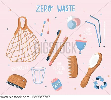Vector Collection Of Zero Waste And Reusable Items. Eco Grocery Bags, Hygiene Items, Wooden Cutlery,