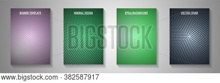 Trendy Circle Screen Tone Gradation Front Page Templates Vector Set. School Brochure Faded Screen To