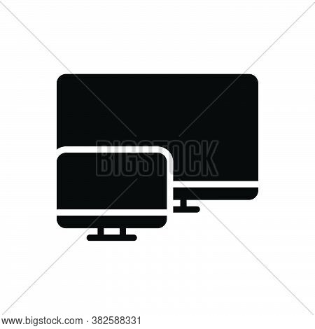 Black Solid Icon For Large Big Great Screen Huge Spacious Gigantic Enormous Massive Monitor System