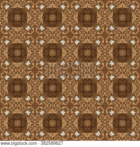 Parang Batik Motifs With Very Distinctive Flower Patterns And Brown Color Design.