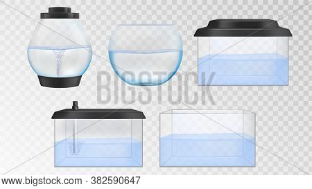 Realistic Glass Aquarium Vector Set. Fishbowl With Water Isolated On Transparent Background. Differe