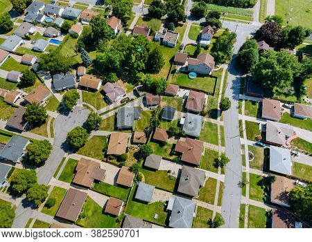 Aerial Roofs Of The Houses In The Urban Landscape Of A Small Sleeping Area Cleveland Ohio Usa