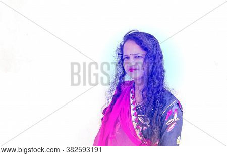 Young Hindu Woman Model In Sari And Kundan Jewelry With Isolate White Background, Portrait Of Young