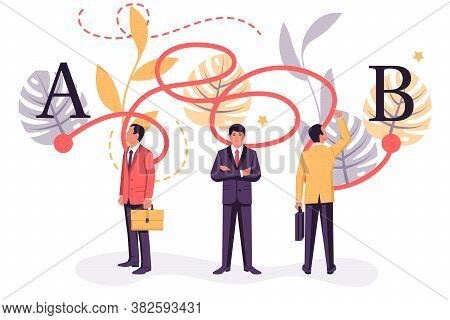 Landing Page Tangled Paths. Group Of Businessmen Is Solving A Problem. Vector Illustration Flat Desi