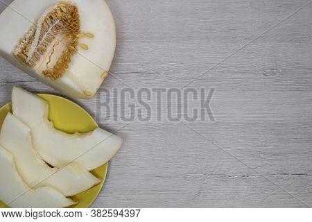 Sliced Melon. Juicy Melon Pulp. Yellow Melon.