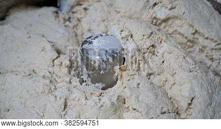 Background Image Of Flour Getting Mixed In The Flour Machine. Flour Mixing