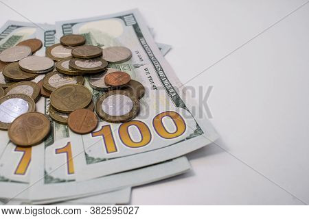 On The Left Are Dollars With A Pile Of Coins With Kopecks On The Right There Is An Empty Space For T