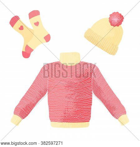 Collection Of Winter Knitted Clothes Isolated On White Background - Woolen Jumper Or Sweater, Hat Wi