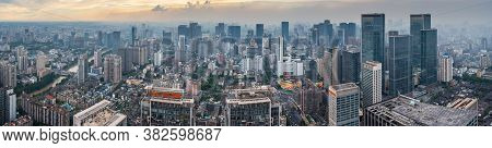 Chengdu, Sichuan Province, China - Aug 19, 2020 : Chengdu Backlight Skyline Panorama Aerial View Wit