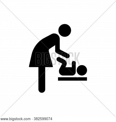Mother Change A Diaper For Child Icon. Restroom For Changing Nappy. Vector On Isolated White Backgro