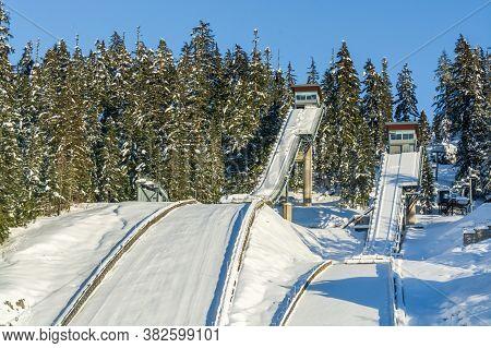 Ramp For Ski Jumping. Ski Jumping Resort On Winter Season