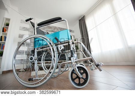 Wheelchair For Patient With Handicap In Nursing Home. No Patient In The Room In The Private Nursing