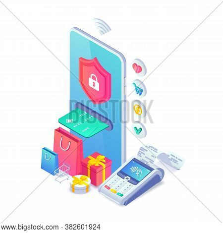 Online Secure Nfc Smartphone Payment Isometric Concept. Safe Internet Shopping Vector Illustration W