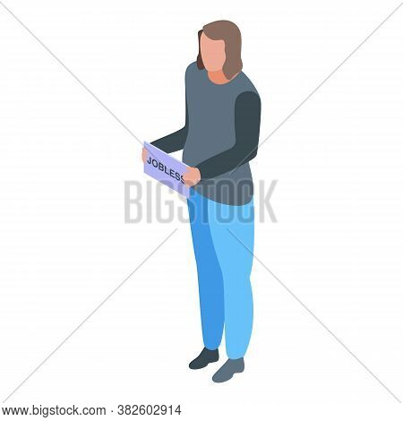 Jobless Woman Icon. Isometric Of Jobless Woman Vector Icon For Web Design Isolated On White Backgrou